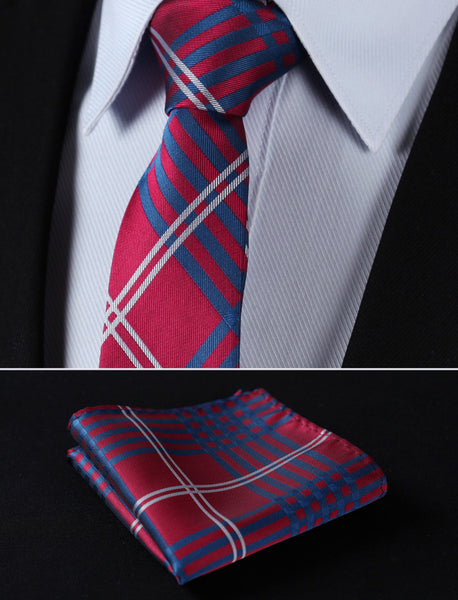 "TC902R7 Red Blue Check 2.75"" 100%Silk Woven Slim Skinny Narrow Men Tie Necktie Handkerchief Pocket Square Suit Set"