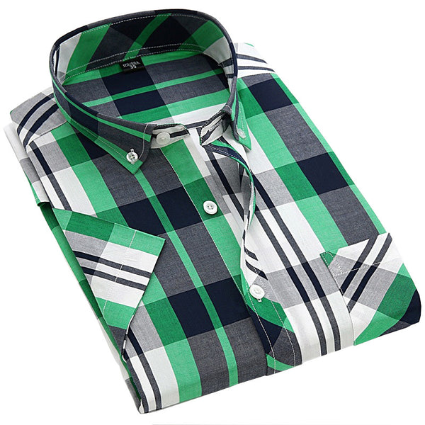Chemise Homme 2016 New Men Shirt Plaid Short Sleeved Casual Shirts Camisa S - 4xl