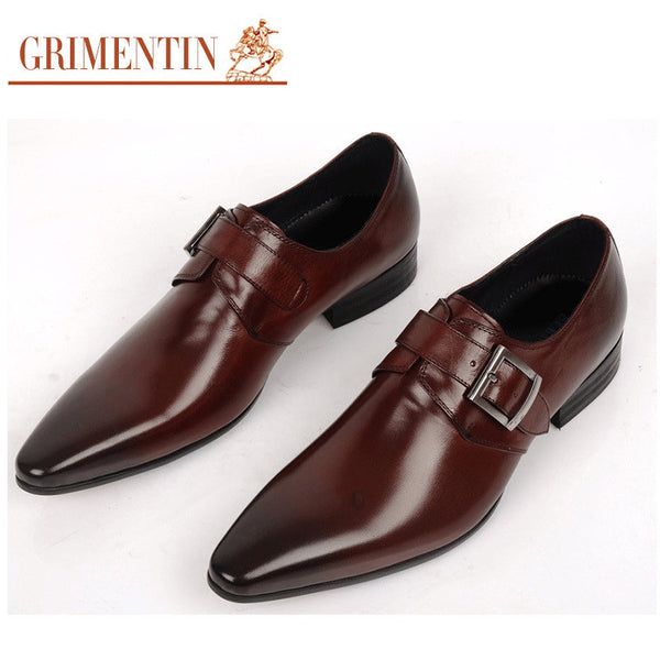 GRIMENTIN fashion Italian luxury casual mens dress shoes genuine leather black brown buckle design