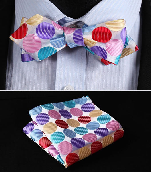 JD401K Pink Red Blue Polka Dot Silk Men Diamond Point Tip Self Bow Tie Pocket Square Handkerchief Hanky Suit Set