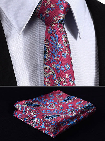 "TF3007R7 Red Blue skinny floral 2.75"" 100%Silk Woven Slim Skinny Narrow Men Tie Necktie Handkerchief Pocket Square Suit Set"