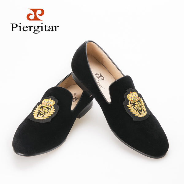 Piergitar 2016 new style Handmade India luxurious crown embroidery men velvet shoes Prom smoking slipper and Banquet men loafers