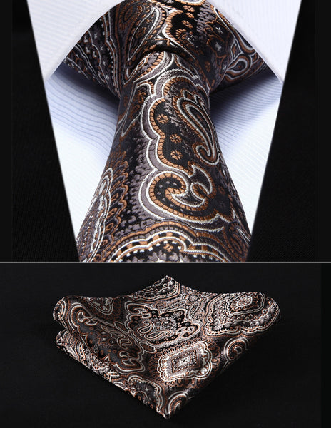 "TP707Z8S Brown Gray Paisley 3.4"" Silk Woven Men Tie Necktie Handkerchief Set"