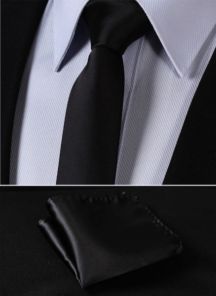 "Solid Skinny Ties TL201L5 Pure Black Solid 2.17"" 100%Silk Woven Slim Skinny Narrow Men Tie Necktie Handkerchief Pocket Square Suit Set"