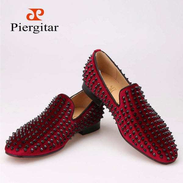 "Handmade men velvet shoes with black rivets Fashion party and wedding men loafers Italian style smoking slipper men""s falts"