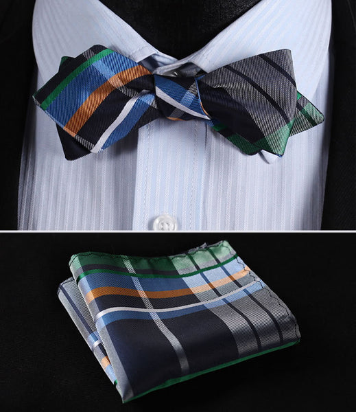 JC401G Green Blue Check Silk Men Diamond Point Tip Self Bow Tie Pocket Square Handkerchief Hanky Suit Set