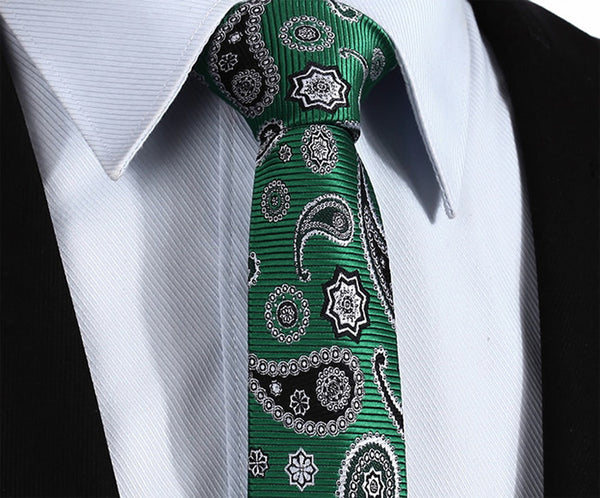 "TP703G7 Green Black skinny floral 2.75"" 100%Silk Woven Slim Skinny Narrow Men Tie Necktie Handkerchief Pocket Square Suit Set"