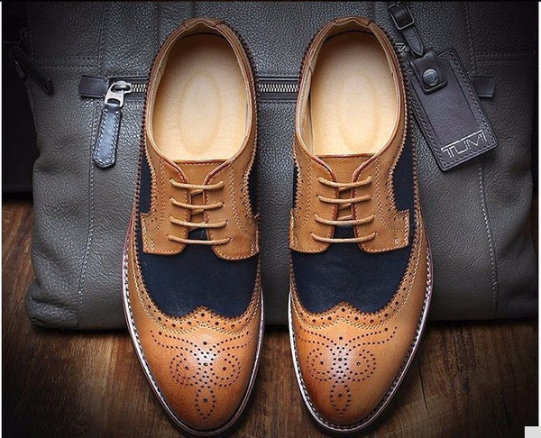 F9395 England Style 2015 Size 38-43 Men's Casual Bullock Carved Mix Color Genuine Leather Shoes Men Fashion Dress Oxfords