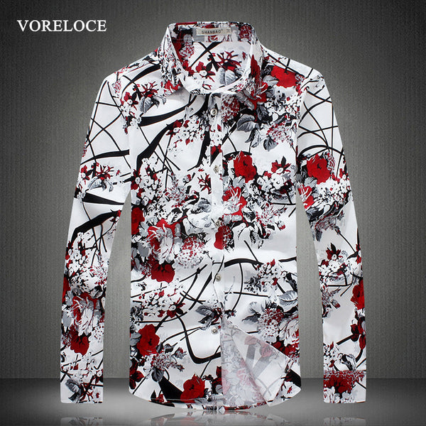 2016 new men's long-sleeved shirts High quality fashion men's Slim casual shirt floral romantic large size men clothing