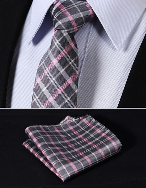 "TC3012K7 Pink Gray Check 2.75"" 100%Silk Woven Slim Skinny Narrow Men Tie Necktie Handkerchief Pocket Square Suit Set"