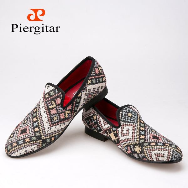 Piergitar new Mixed colors men loafers Ethnic style lattice men casual shoes smoking slipper men's flat size US6-14 freeshipping