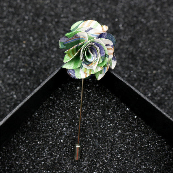 30pcs/lot Hot Selling DIY Fabric Insert Long Lapel Pin Flower Wedding Brooch Bouquet for Men accessories