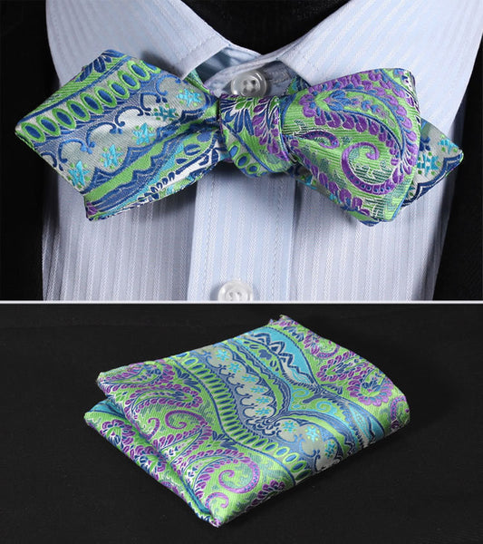 JF401G Green Purple  Floral Silk Men Diamond Point Tip Self Bow Tie Pocket Square Handkerchief Hanky Suit Set