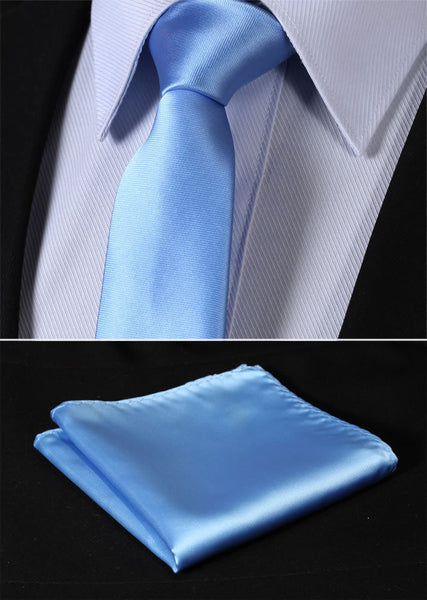 "Solid Skinny Ties TL201B7 Pure Sky Blue Solid 2.75"" 100%Silk Woven Slim Skinny Narrow Men Tie Necktie Handkerchief Pocket Square Suit Set"