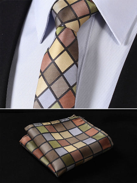 "TC4008G7 Green Brown Check 2.75"" 100%Silk Woven Slim Skinny Narrow Men Tie Necktie Handkerchief Pocket Square Suit Set"
