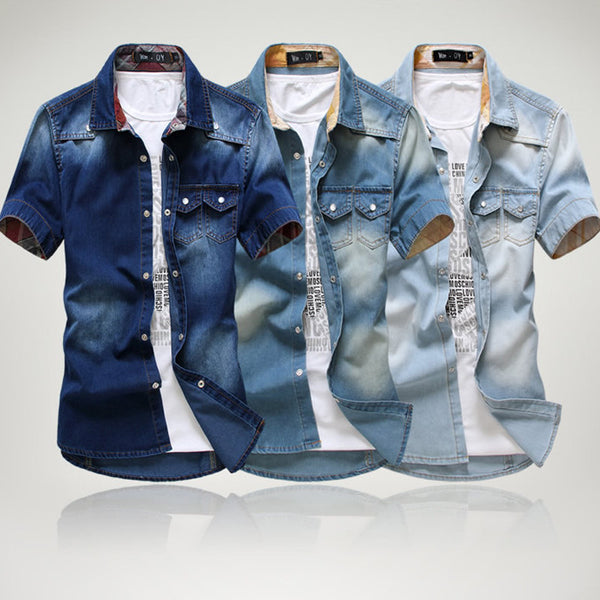 3 color blue summer denim shirts for men short sleeves 2014 summer Korean style fashion washed Slim Man casual GOOD QUALITY
