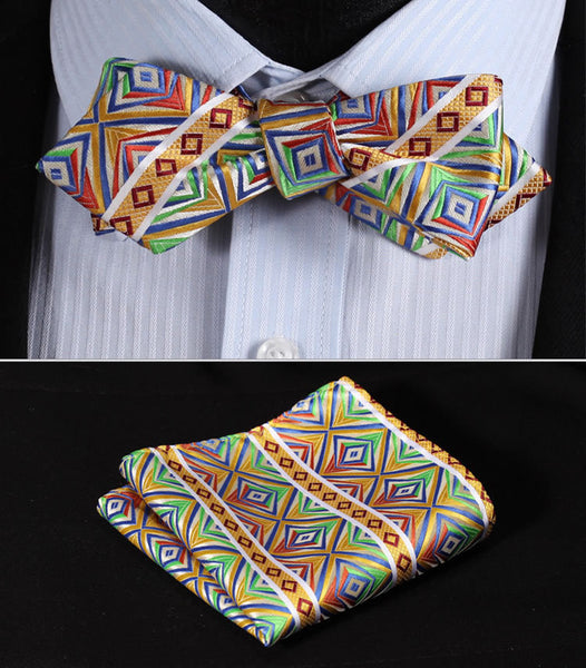 JC203G Green Orange Yellow Check Silk Men Diamond Point Tip Self Bow Tie Pocket Square Handkerchief Hanky Suit Set