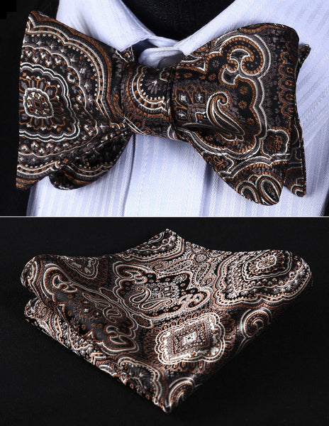 BP707Z Brown Gray Paisley 100%Silk Jacquard Woven Men Self Tie Bow Tie Pocket Square Handkerchief Hanky Suit Set