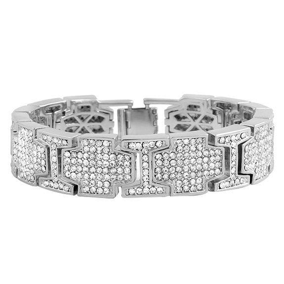 "Mens 8""  Iced Out High  Hip Hop Bling Bling Bracelet/Hip-hop Silver Tone Bling Iced Mens Bracelet"