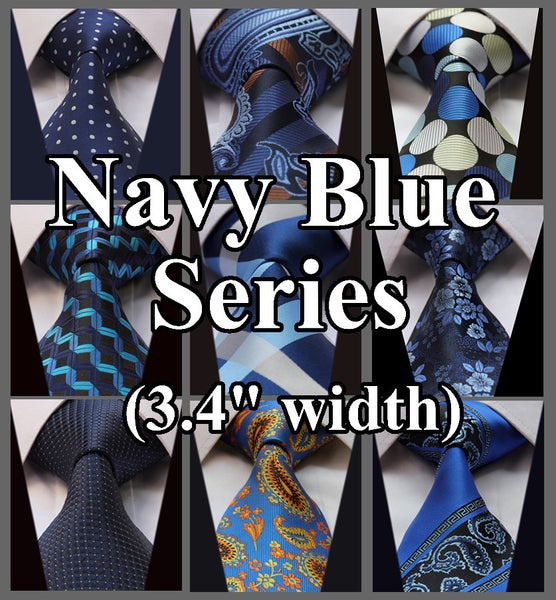 TS9BZ Multi Navy Blue casual fashion Novelty Jacquard Woven Classic Silk Men Ties Gravatas Self Necktie
