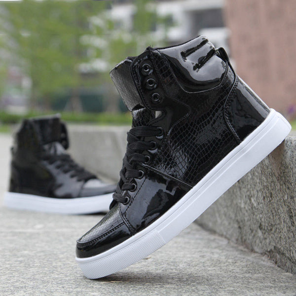 New 2015 Brand High Top Mens Fashion PU Leather Sneakers Men Flat casual shoes White Black Boots Zapatos Mujer