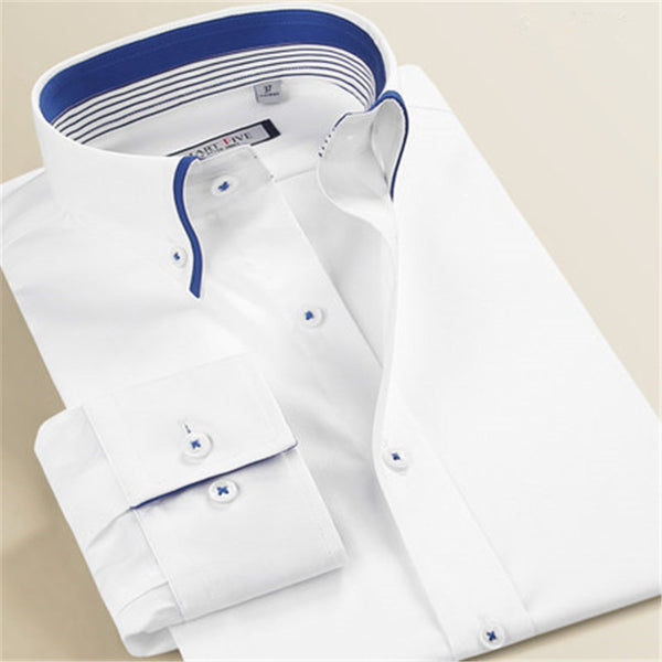 2016 New Summer 100% Cotton White Shirts Men Imported Clothing Camisa Social Masculina Long Sleeve Men Shirt Slim Fit    A0245