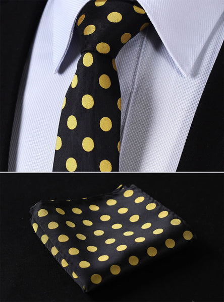 "TD201Y7 Yellow Black Polka Dot Skinny 2.75"" 100%Silk Woven Slim Skinny Narrow Men Tie Necktie Handkerchief Pocket Square Suit Set"