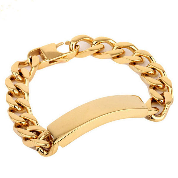 13MM Wide 18K Gold Filled Bracelet Men Fashion Male Jewelry Link Chain Mens Bracelets Bangles Pulseiras Masculinos Wristband