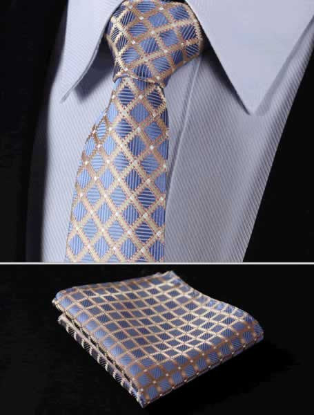 "TC3014D7 Blue Glod Check 2.75"" 100%Silk Woven Slim Skinny Narrow Men Tie Necktie Handkerchief Pocket Square Suit Set"