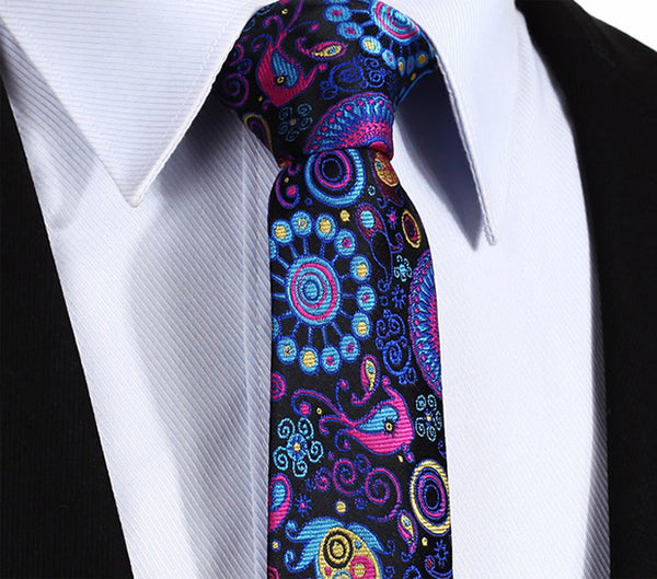 "TP816V7 Navy Blue Pink skinny floral 2.75"" 100%Silk Woven Slim Skinny Narrow Men Tie Necktie Handkerchief Pocket Square Suit Set"