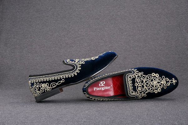 New Arrival  Embroidered  Men Velvet Loafers Slippers Free Shipping