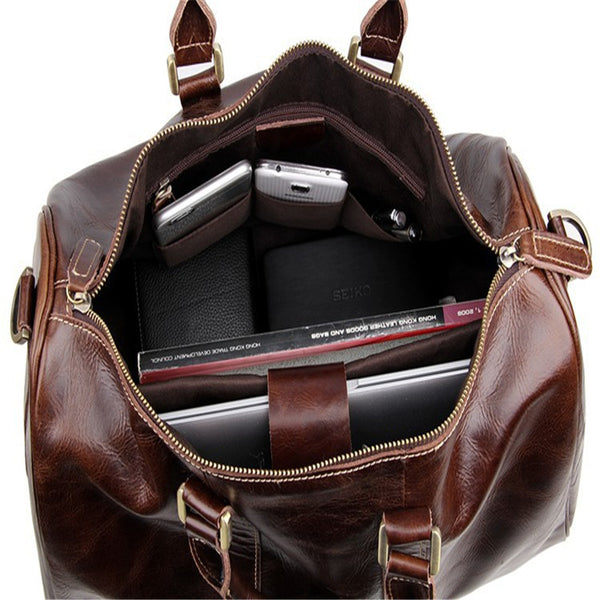 Baigio Mens Leather Travel Bags Overnight Duffle Luxury Brown Designer Brand Hand Luggage Shoulder Bags