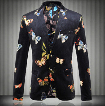 2016 new Flower blazer suits jacket male slim fashion  men's fashion personality flat flannelette print coat high quality prom groom