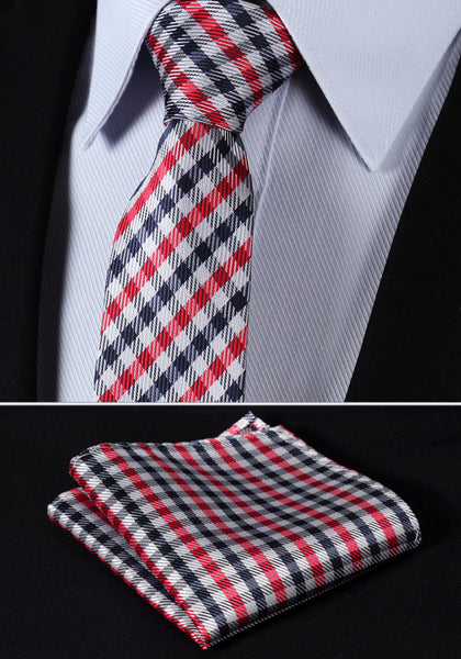 "TC2002T7 Red Navy Blue Check 2.75"" 100%Silk Woven Slim Skinny Narrow Men Tie Necktie Handkerchief Pocket Square Suit Set"
