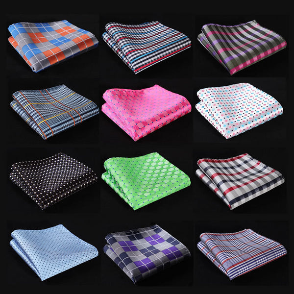 CF Check Men Silk Satin Pocket Square Hanky  Woven Classic Wedding Party Handkerchief