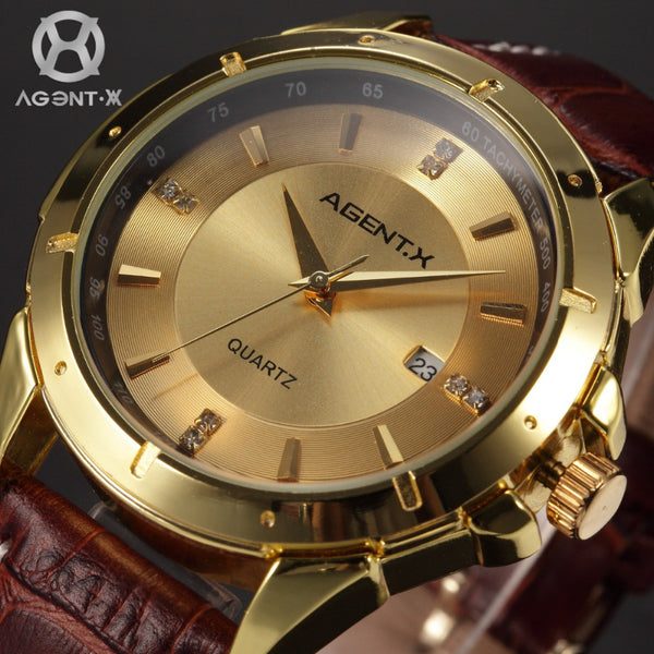 AGENTX Gold Full Stainless Steel Case Reloje Auto Date Display Analog Genuine Leather Band Quartz  Men Casual Watches / AGX027