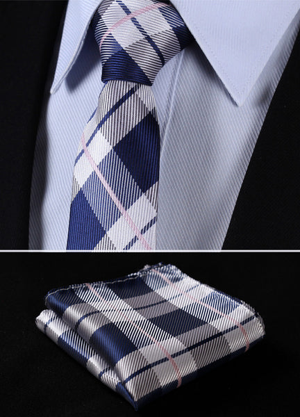 "TC4030A7 Gray Navy Blue Check 2.75"" 100%Silk Woven Slim Skinny Narrow Men Tie Necktie Handkerchief Pocket Square Suit Set"
