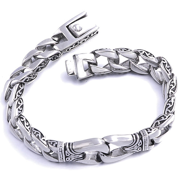 new Arrival 1PC 316L Stainless Steel Gothic Punk Men Polished Printed Jewelry Bracelet