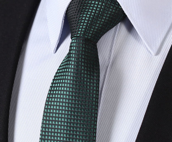 "TC2001G7 Pure Green Check 2.75"" 100%Silk Jacquard Woven Classic Wedding Slim Skinny Narrow Men Tie Necktie"