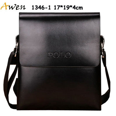 Awen-hot sell brand POLO solid double pocket soft pu leather men messenger bag,small 2 layers mens travel bag,mens sport bag