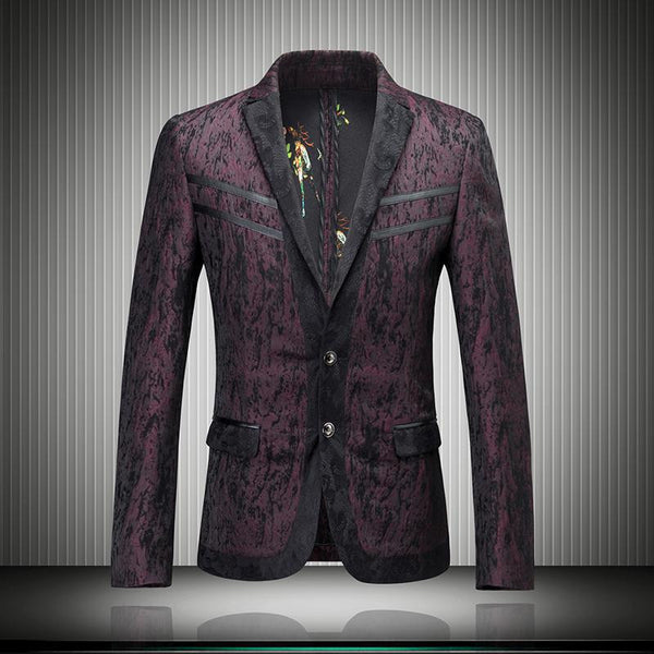 Purple Red Blazer Men Luxury Floral Blazer Men Wedding Business Party Prom Suits Jacket Lace Trim Blazer Masuclino Slim Fit