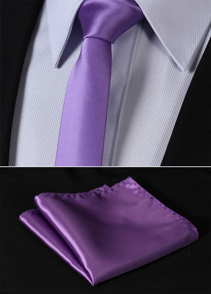 "Solid Skinny Ties TL201P5 Pure Purple Solid 2.17"" 100%Silk Woven Slim Skinny Narrow Men Tie Necktie Handkerchief Pocket Square Suit Set"