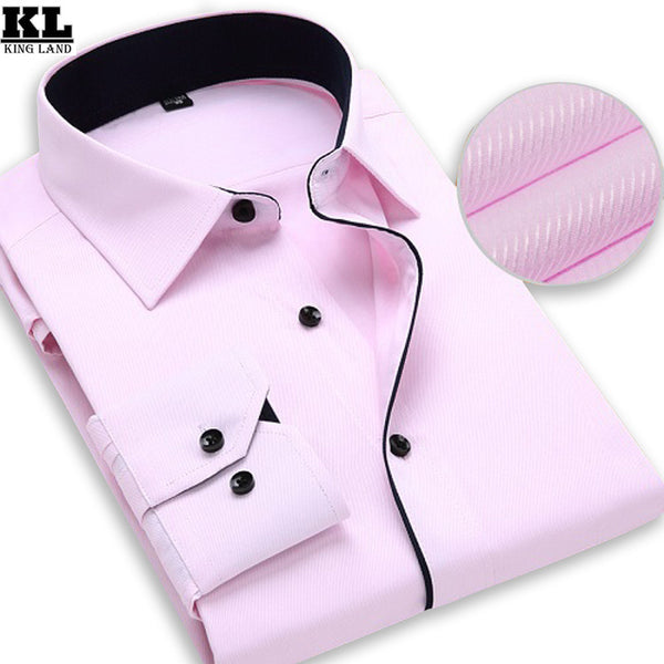 2016 Brand Mens Work Shirts Long Sleeve Striped /Twill men Dress Shirt White Male Shirts 4XL 9 Colors Social Camisa Masculina