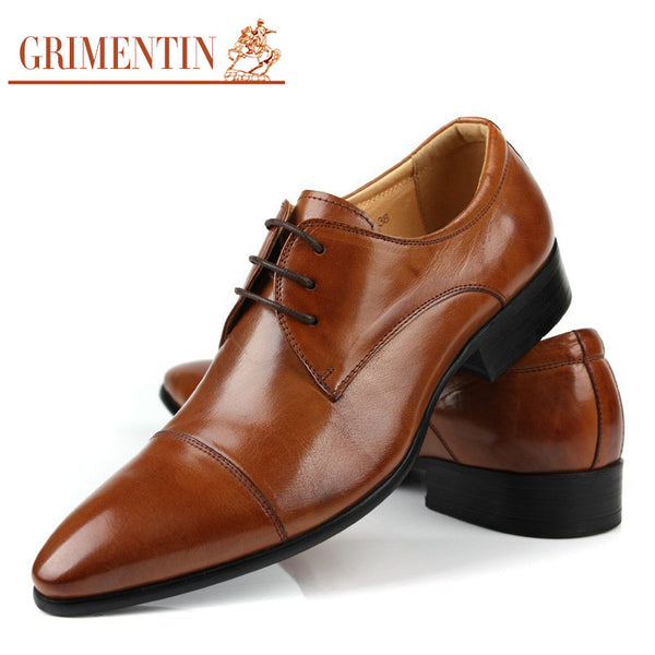 2015 Top grade fashion casual mens dress shoes genuine leather black brown cap toe basic flats for men wedding business #766