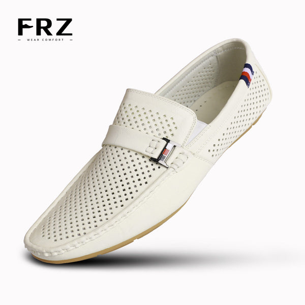 2016 FRZ Mens Loafers Flats Action Leather Men Shoes Slip-on Charm Breathable Buckle Lace Loop Spring Driving White CE86802WH