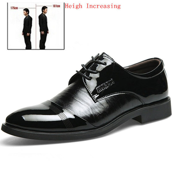 New 2015 Oxford Shoes For Men Dress Shoes Leater Office Social Shoes Spring Autumn Height Increasing Men Shoes Black Size 38-44