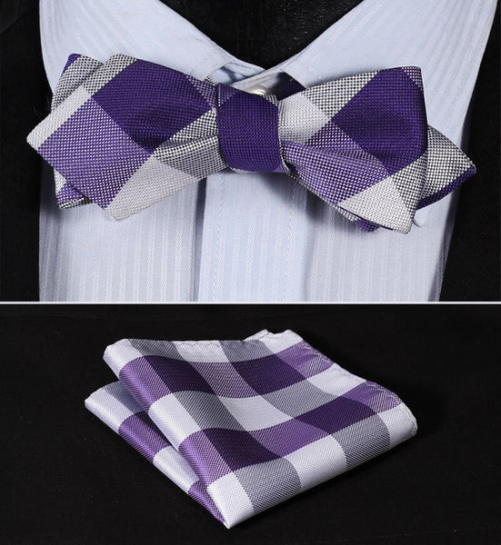JC404P Purple White Check Silk Men Diamond Point Tip Self Bow Tie Pocket Square Handkerchief Hanky Suit Set