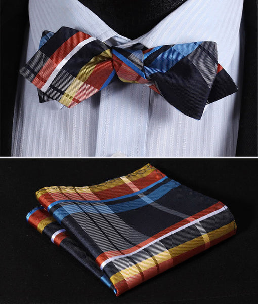 JC401B Blue Yellow Check Silk Men Diamond Point Tip Self Bow Tie Pocket Square Handkerchief Hanky Suit Set