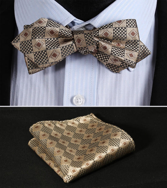 JC202Z Wheaten Brown Check Silk Men Diamond Point Tip Self Bow Tie Pocket Square Handkerchief Hanky Suit Set