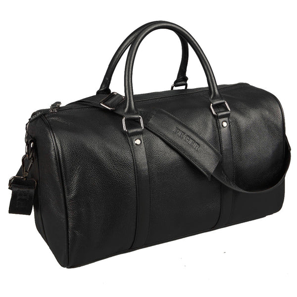 Baigio Men Genuine Leather Travel Bag Designer Style Black Large Capacity Travel Overnight Luggage Waterproof Bag